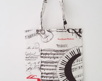 Musical tote bag, shopping bag, reusable bag, book bag, colorful bag