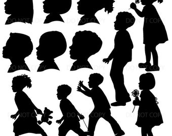 Children Silhouettes, Boy and Girl Clipart, Silhouette Clipart Commercial Use RP-81
