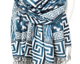 Teal Blue Scarf Shawl. Pashmina Fringed Scarf. Greek Meander. Spring Woman Foulard Echarpe. Birthday gift for her. 27x74in Ready2Ship