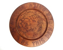 Antique Vintage Art Nouveau Round Hand-Carved Bread Board with Poppies and Wheat - Give Us This Day Our Daily Bread