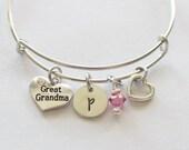 Great Grandma Initial Bracelet - Charm Bracelet, Great Grandma Gifts, Great Grandma Ideas, Affordable Gifts, Great Grandma Jewelry