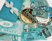 20 Piece Mini Teal Vintage Paper Ephemera Pack - Small Teal Inspiration Kit - Tickets, Tags, Coupons - Small Paper Ephemera - Embellishments
