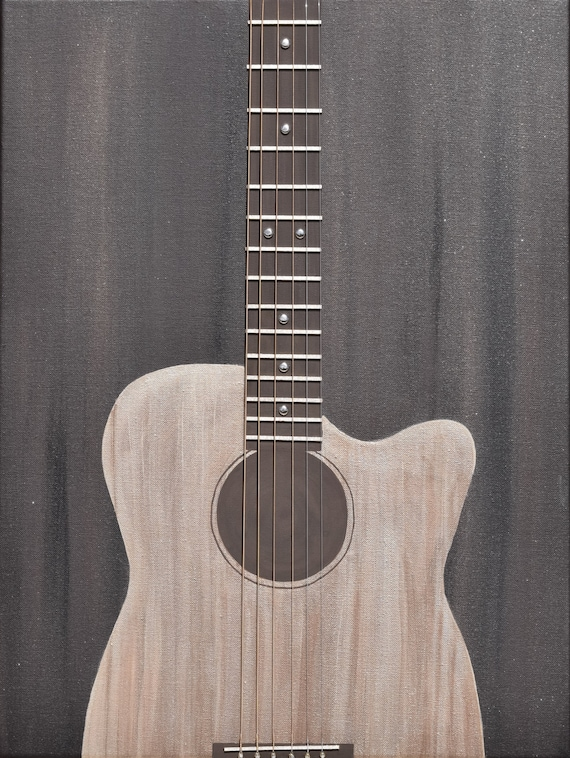multimedia acoustic guitar painting with real guitar strings. Black Bedroom Furniture Sets. Home Design Ideas