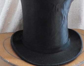 On hold for H  Vintage Top Hat, French Vintage , Steampunk, Silk Top Hat, Paris Hat  Box, Top Hat, Victorian Top Hat, Colapsible Top Hat