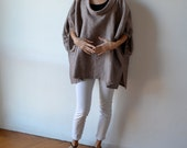 Rust linen smock / plus size linen top / maternity top / linen clothing / plus size clothing