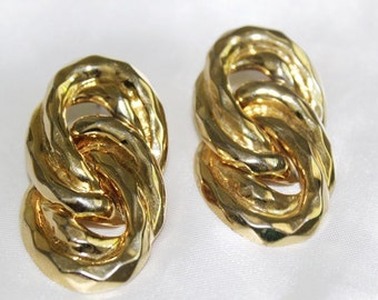 Charming Vintage Doble SPIRAL Chain HAMMERED Earrings EM