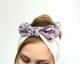 top knot womens headband dolly bow turban knot fabric wrap jersey headband with bow wide mommy me head wrap liberty cream dusty pink