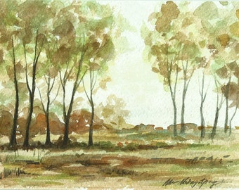 Original Watercolor Landscape Tree Forest Wood Art 6x8 Hand Painted Not Print