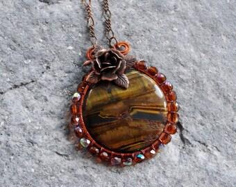 Tiger Eye Necklace - Wire wrapped Copper Gemstone Jewelry