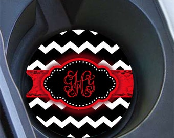 Birthday present for daughter, Monogram car cup holder coaster, Chevron Car accessory, Personalized red car coaster, Red car decor (1001)