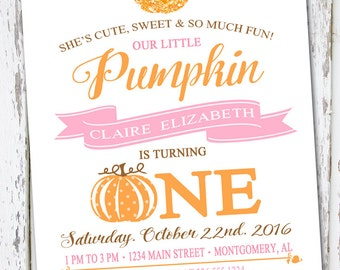 Pumpkin Invite, Fall Invitation,  Pumpkin Invitation, Pumpkin Birthday Invite, First Birthday Invite, Halloween Birthday, Our Little Pumpkin