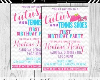 Tutus and Tennis Shoes Birthday Invitation #157