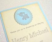 Blue Baby Elephant Invitation