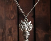 Silver Horned Owl Necklace