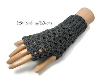 Ladies Grey Crochet Gloves,  Lacy Look Gloves, Vegan Friendly, Ladies Grey Fingerless Gloves - Grey Crochet Gloves