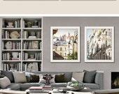 Wall art set of 2, Paris photography, beige living room, Paris prints, large wall art, architecture art, large poster, 11x14, 16x20, 20x24