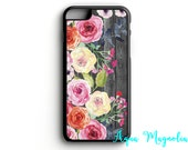 Watercolor Wild Roses - Wood Background - iPhone 5/5s, iPhone 6/6s, iPhone 6/6s Plus, Samsung S5, Samsung S6 Cell Phone Case