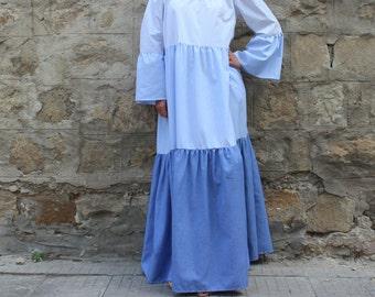 Cotton Maxi Dress, Blue Maxi Dress, Boho Maxi Dress, Summer Maxi Dress, Plus size Maxi Dress, Long Cotton Maxi Dress, Polka Dots Maxi Dress,