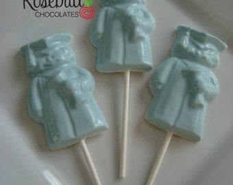 12 Chocolate Graduate Lollipop Favor Candy Bar Dessert Table Diploma Cap Gown