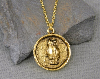 Owl Necklace Antique Gold Owl Pendant Medallion Bird Necklace Owl Charm Necklace with 18 inch Gold Plated Chain |NU1-9
