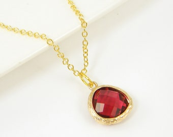 Red Teardrop Pendant Necklace, Ruby Red Charm Necklace, Ruby Red Pendant 18 or 20 Inch Gold Chain July Birthstone July Birthday Gift |RJ1-15