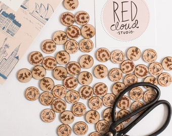 Custom Wood Tags, Knitter Tags, Stitching Logo Tags, Custom Logo Tags, Weavers Tags, Crafter Tags - Your Logo or Design