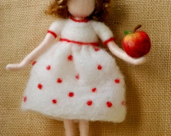 Wool Doll Home decor needle felted /Room Decoration /Seasonal Table: Girl with apple