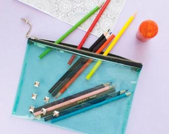 Clear Pencil Case Green Vinyl Zipper Pouch Studded Clutch Bag