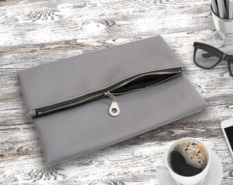 Fold Over Clutch Bag Grey Vegan Leather Purse