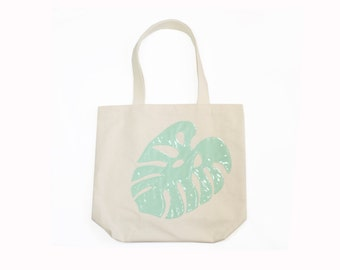 Monstera Tote Bag Tropical Leaf Canvas Bag Summer Must Haves