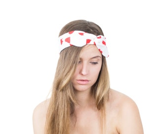 Red Hearts Bandana Cute Wired Headband Love Print Cotton