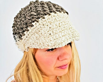 Chunky Winter Hat Chunky Crochet Wool Visor Beanie Womens Beanie Charcoal Gray Button lace Crochet Hat Teen Girl Hat