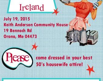 Retro Housewife Bridal Shower DIY Printable Invites