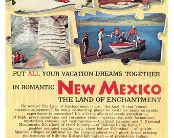 New Mexico Vintage Travel Ad 1959 Tourism Family Vacation American Southwest Land of Enchantment Wall Decor Original Print Ad