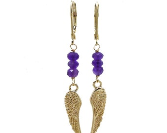Amethyst Earrings - Angel Wings Earrings with Amethyst Gemstones - February Birthstone