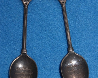Lot Of 2 Vintage WAPW Great Britain 1981 Collector Souvenir Spoons Prince And Princess Of Whales Silverplate