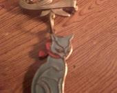 reserved for Kat Vintage Copper Enamel Cat Brooch
