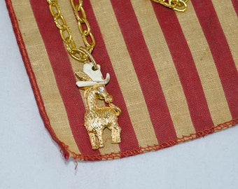 SALE,Gold Donkey Charm Pendant Necklace Assemblage Democratic Party Donkey w/ Feathered Hat Yankee Doodle Campaign Trail WishAnWear