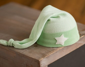 Upcycled Newborn Hat Green Striped Stocking Cap with star, Newborn Boy Hat, Upcycled Hat READY TO SHIP Photography Prop rts Sleepy Time Hat