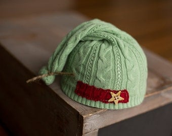 Newborn Christmas Hat Upcycled Green Sleepy Time Elf Hat with Red Patch and Star Button READY TO SHIP photography prop