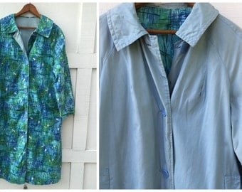 SALE>>>60's Reversible Mod Spring Jacket Coat in Monet-like Turquoise, Blues and Greens - Size Large