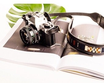 The Wanderly Noir | Black Leather Camera Strap, Black Leather Strap, Womens Leather Camera Strap, DLSR Camera Strap