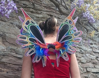 Large double panel black and rainbow fairy wings - fairylove