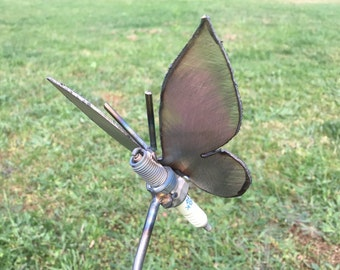 Spark Bug Butterfly. Used Spark Plugs transformed into Butterfly Garden Art