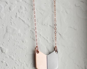 Rose Gold & Silver Chevron Necklace | Chevron Jewelry | Geometric Necklace | Rose | Layering Necklace | Stainless Steel | Mixed Metal