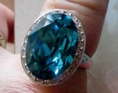 Vintage Estate Danbury Mint 18KRGP Oval London Blue Topaz Diamond. Gift For Her, Bridal, Birthday, Mother's Day Gift, SIZE 9