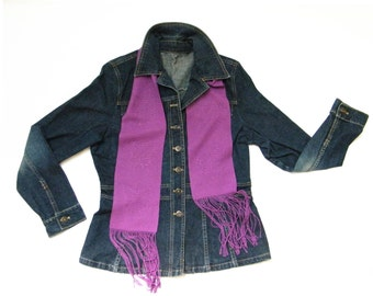 Butterfly Lace Scarf Handwoven, Amethyst Scarf Purple, Bamboo Scarf Plum, Magenta Scarf Violet, Hand Woven Scarf Teens, Small Scarf Ladies