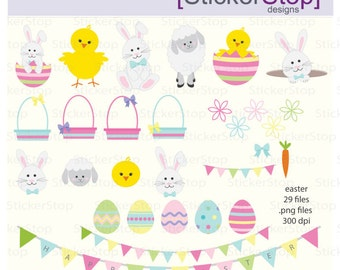 Easter Bunny and Friends, 29 images PNG Digital Clipart - Instant download - bunny, chick, lamb, eggs, basket, bunting, flowers