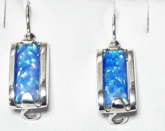 925 Sterling Silver Earrings Blue Fire Opal Jewelry, silver dangle earrings, silver opal earrings, fire opal earrings, blue opal earrings