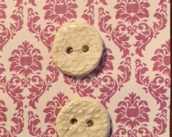 Handmade Ceramic Buttons ( set of 2 )